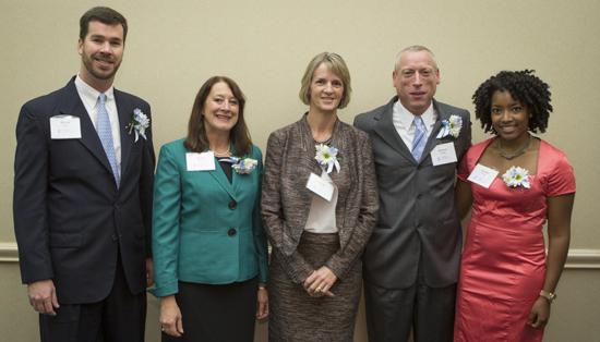 The 2013 award recipients were, from left to right, Mr. David Oehler, Dr. Robin Knobel, Dr. Leslie Davis, Dr. Robert Dodge, and Ms. Amber Bivins (on behalf of Dr. Debra Barksdale).