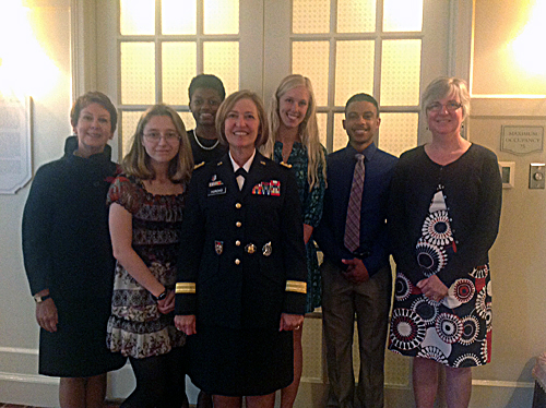 From left to right: Dean Donna Havens, Karen Gouws, Cierra Franklin, Lt. Gen Patricia Horoho, Madison Farr, Gary Dupart, and Deb Davis.