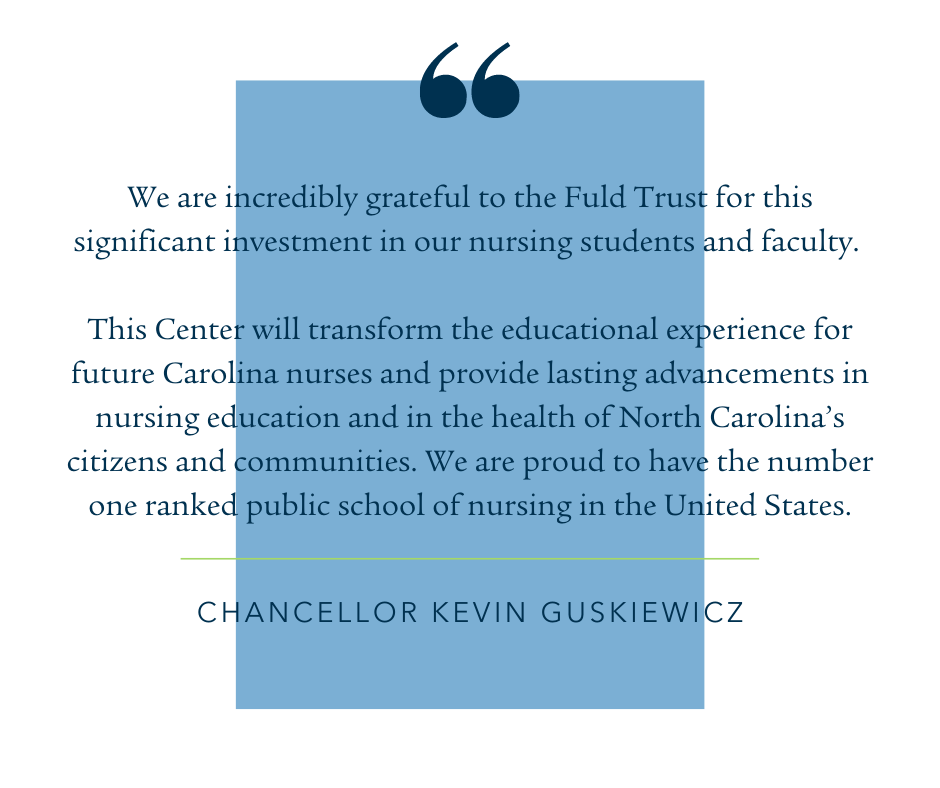 """Quote: """"We are incredibly grateful to the Fuld Trust for this significant investment in our nursing students and faculty,"""" said Kevin Guskiewicz, Chancellor of the University of North Carolina at Chapel Hill. """"This Center will transform the educational experience for future Carolina nurses and provide lasting advancements in nursing education and in the health of North Carolina's citizens and communities. We are proud to have the number one ranked public school of nursing in the United States."""""""