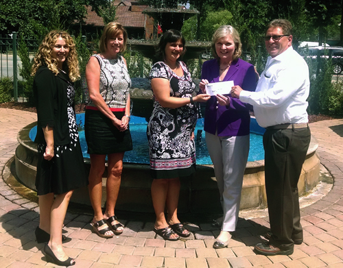First Quality Technical Service Director Jim Minetola (right) presents a check to Dr. Mary Palmer (second from right) and Dr. Anna Beeber (center) along with First Quality Senior Clinical Director Michele Mongillo (second from left) and Assistant Dean for Advancement Anne Webb (far left).