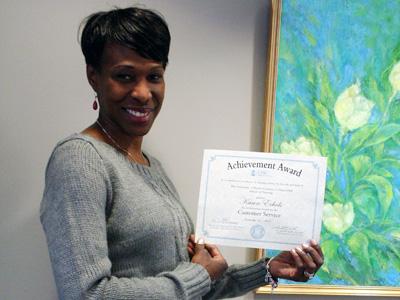Karen Echols, recipient of the Customer Service Award