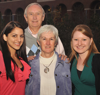 This is a picture of Carol and Coleman Ross with two former recipients of the Eunice Morde Doty Scholarship